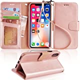 Arae Case for iPhone X/Xs, Premium PU Leather Wallet Case [Wrist Straps] Flip Folio [Kickstand Feature] with ID&Credit Card P