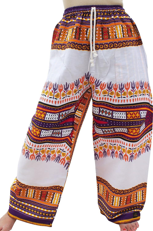 New White purple Raan Pah Muang RaanPahMuang Baggy Straight Leg Carnival Dashiki Print Unisex Pants Africa Print