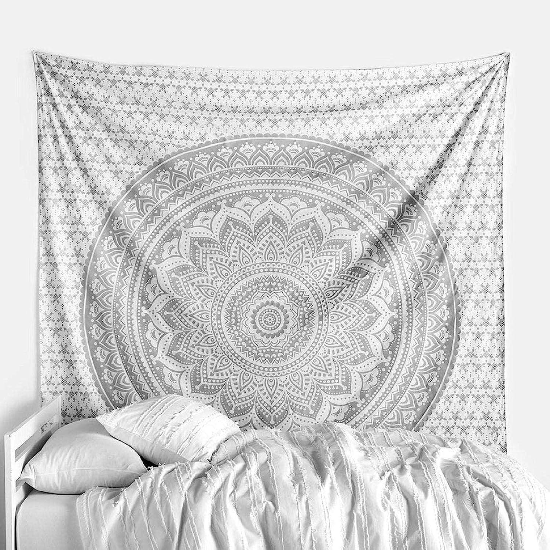 raajsee Metallic Silver Tapestry Grey Mandala Wall Hangings, Indian Cotton Beach Throw Blanket, Hippie Tapestries Boho Decor,Twin Bedspread Yoga Meditation Mat Rugs 52 x 60 inches