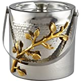 Elegance Golden Vine Ice Bucket, Silver/Gold
