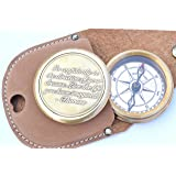 Neovivid Go Confidently Quote Engraved Twist Open Brass Pocket Compass With Leather Case, Directional Magnetic Navigational Compass, Christmas Gifts, Nautical Compass, Eagle Scouts Compass