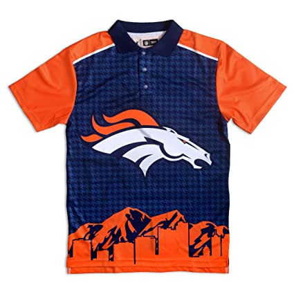 172725e5 Denver Broncos Polyester Short Sleeve Thematic Polo Shirt Double Extra Large