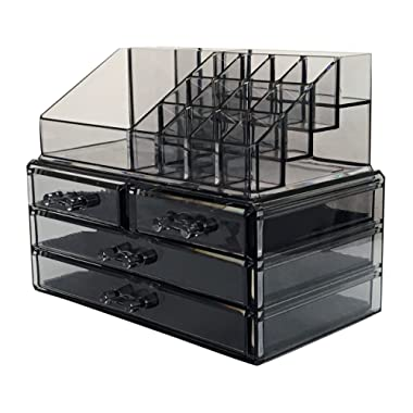 Sodynee Makeup Cosmetic Organizer Cosmetics Organizers Storage Drawers, Two Pieces Set