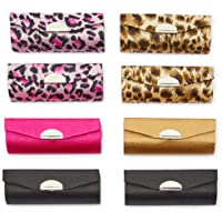 Leopard Print Lipstick Cases with Mirror for Purse, 5 Designs (8 Pack)