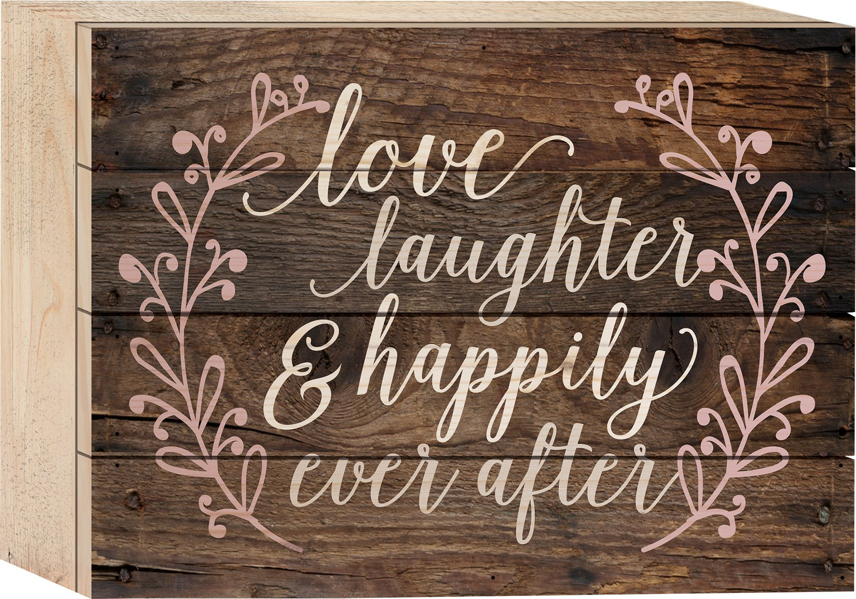 P. GRAHAM DUNN Love Laughter & Happily Ever After Rustic 6 x 8 Wood Block-Style Wall Art Sign Plaque
