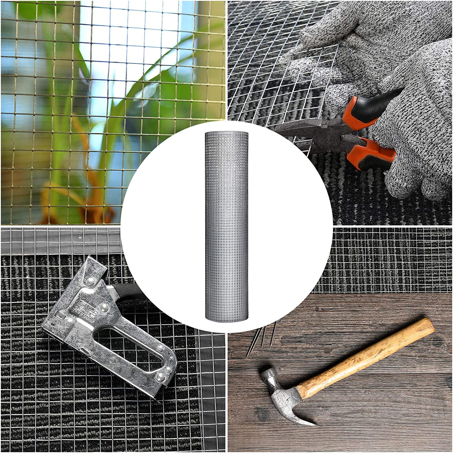 1//2 inch Square 19 Gauge Galvanized Wire mesh Welded Wire Hardware Cloth Gutter Guard 48 x 40 Welded Cage Wire Chicken Fence mesh Fence mesh for Chicken Coop Animal Control and Garden Use