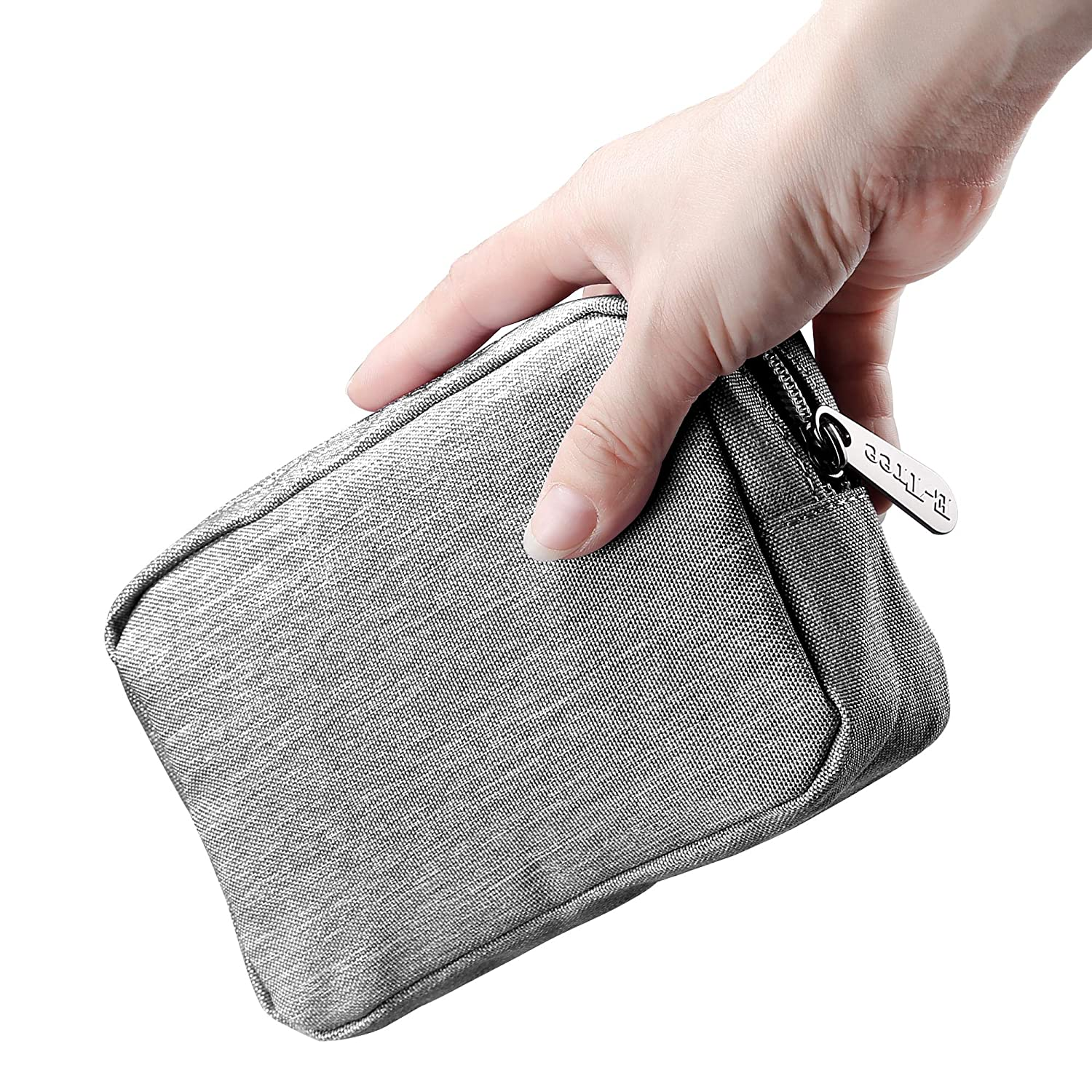 E-Tree 7 inch Convenient Little Pouch, Small Travel Gadget Bag, Mini Phone Accessories Storage Hard Drive Carry Case, Handbag, Canvas Coin Purse, Zippered Wallet, Makeup Carrying kit