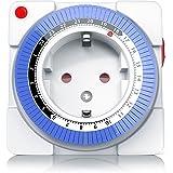 Arendo – Timer meccanico 24h | 24 Ore Plug in Timer| 96 segmenti di commutazione | Regolatore a cursore per indicazione dell'ora | Indicazione dello stato | Selettore per la funzione On/Auto | Comando semplice/compatto | 3680W | Sicura per bambini