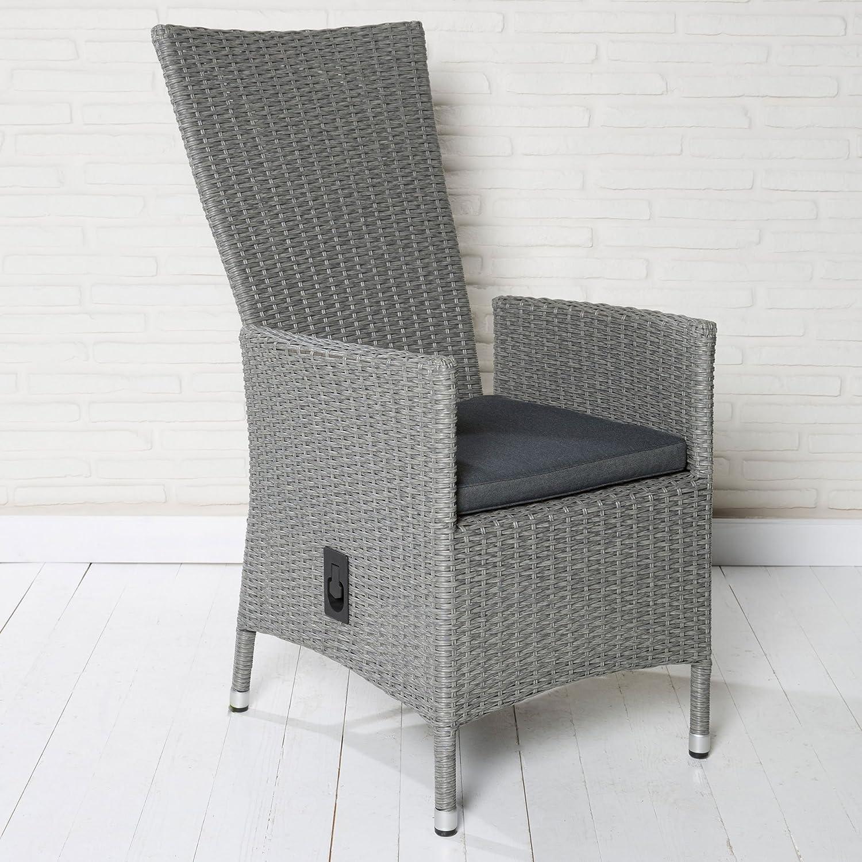 Polyrattan Gartenstuhl Gartensessel hellgrau verstellbare Rückenlehne Stuhl Sessel