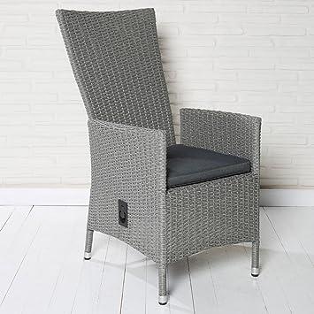 Schon Polyrattan Gartenstuhl Gartensessel Hellgrau Verstellbare Rückenlehne Stuhl  Sessel