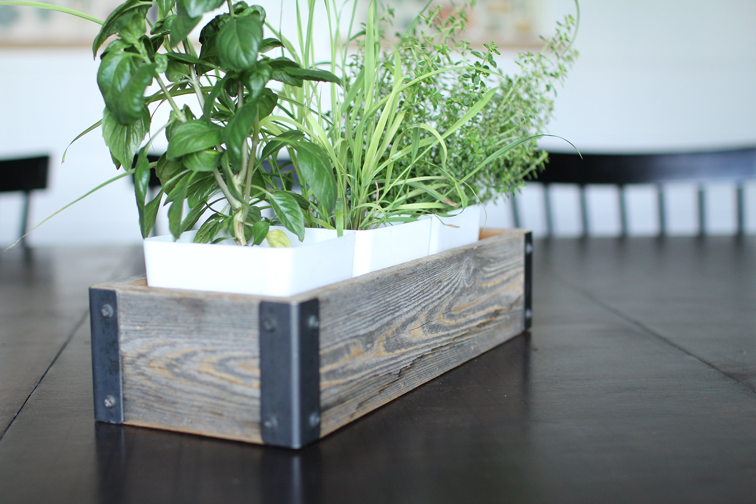 My Barnwood Frames - Reclaimed Wood Planter Box with Metal Brackets (Medium - 24'')