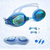 Swim Goggles + Ear and Nose Plugs - 3STN | Professional Athletic Glasses with UV + Leaking Protection, Fogproof, Mirrored for Pool, Outdoor, Triathlon | For Men, Women, Adults, Youth