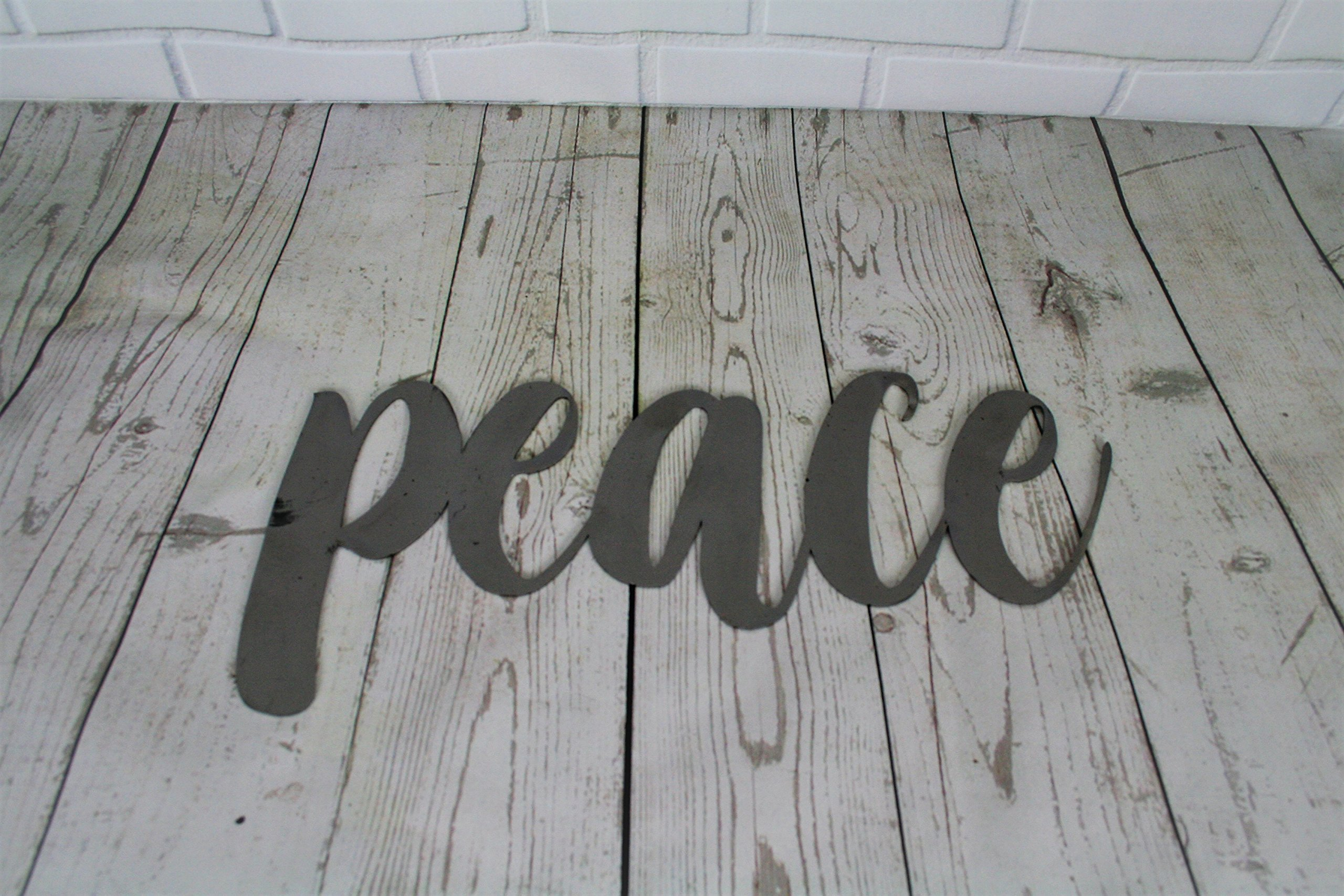Raw Steel Unpainted Word Art - peace size small