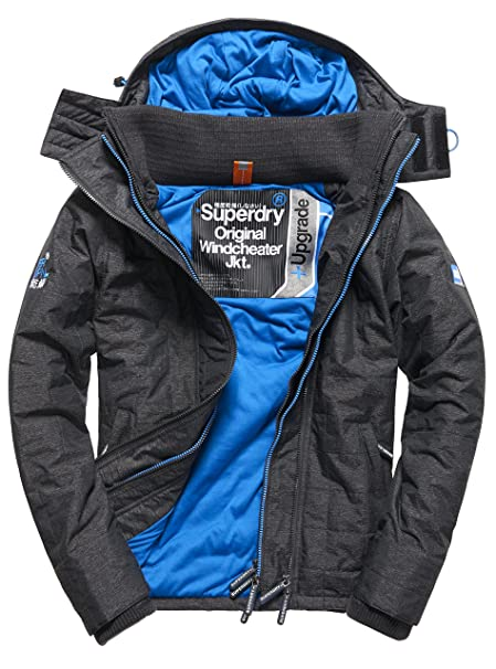 Superdry Hooded Quilted Athletic WINDCH, Abrigo Impermeable para Hombre, Negro (Black Marl/Denby BlueVYT) XS: Amazon.es: Ropa y accesorios