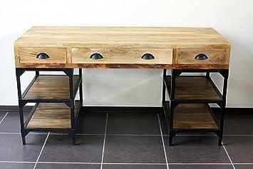 Bureau industriel métal et bois de manguier amazon cuisine