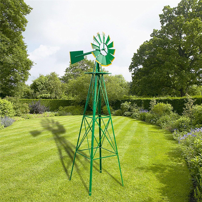 UKN 8ft Children's Garden Windmill Green Mid-Century Modern Nickel Ash Finish Handmade