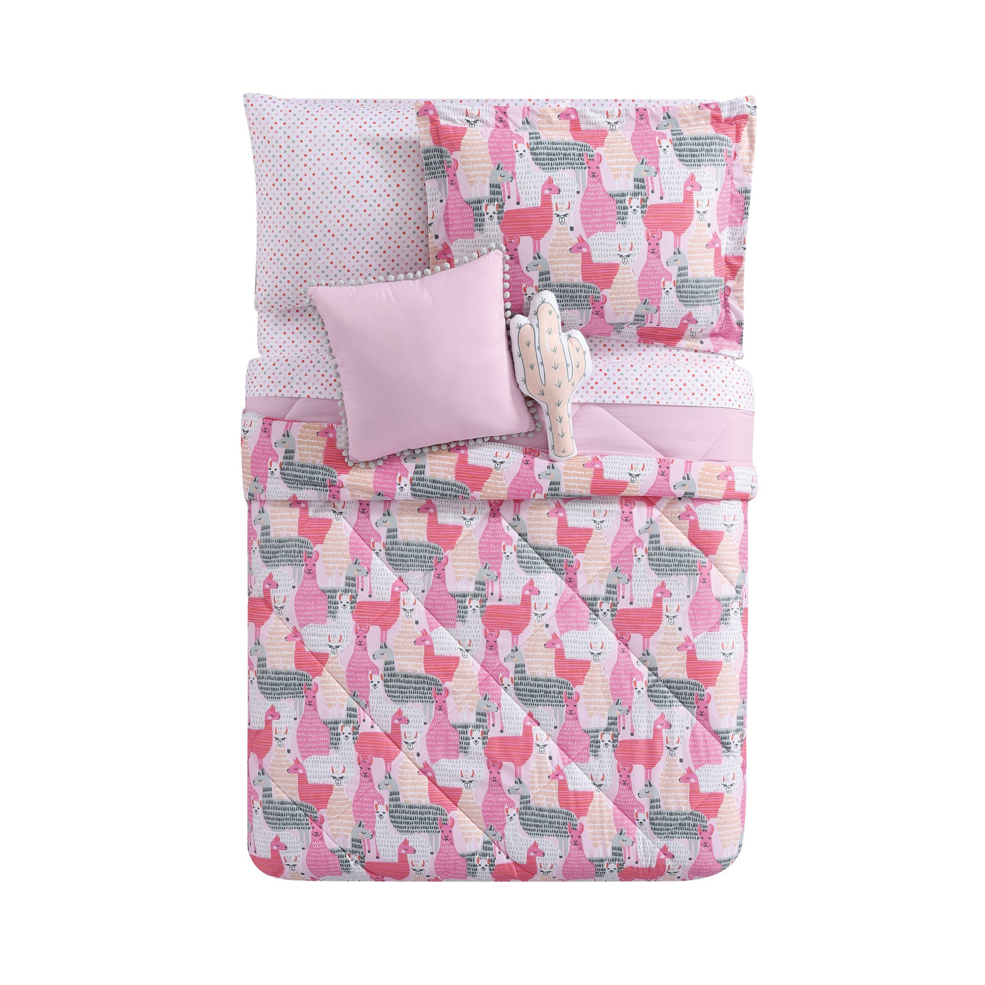 N-A 3 Piece Girls Pink White Grey Llama Comforter Full Queen Set, Vibrant Girly All Over Llamas Themed Bedding, Cute Multi Animal Themed, Microfiber, Peach Gray