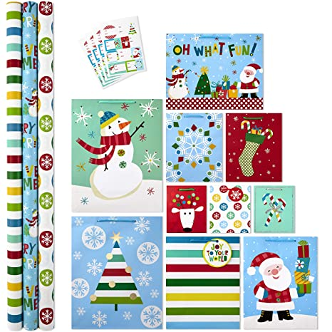 Christmas Gift Wrapping Station.Hallmark All In One Christmas Gift Wrapping Set Family 3 Rolls Of Wrapping Paper 10 Assorted Gift Bags 32 Gift Tag Stickers