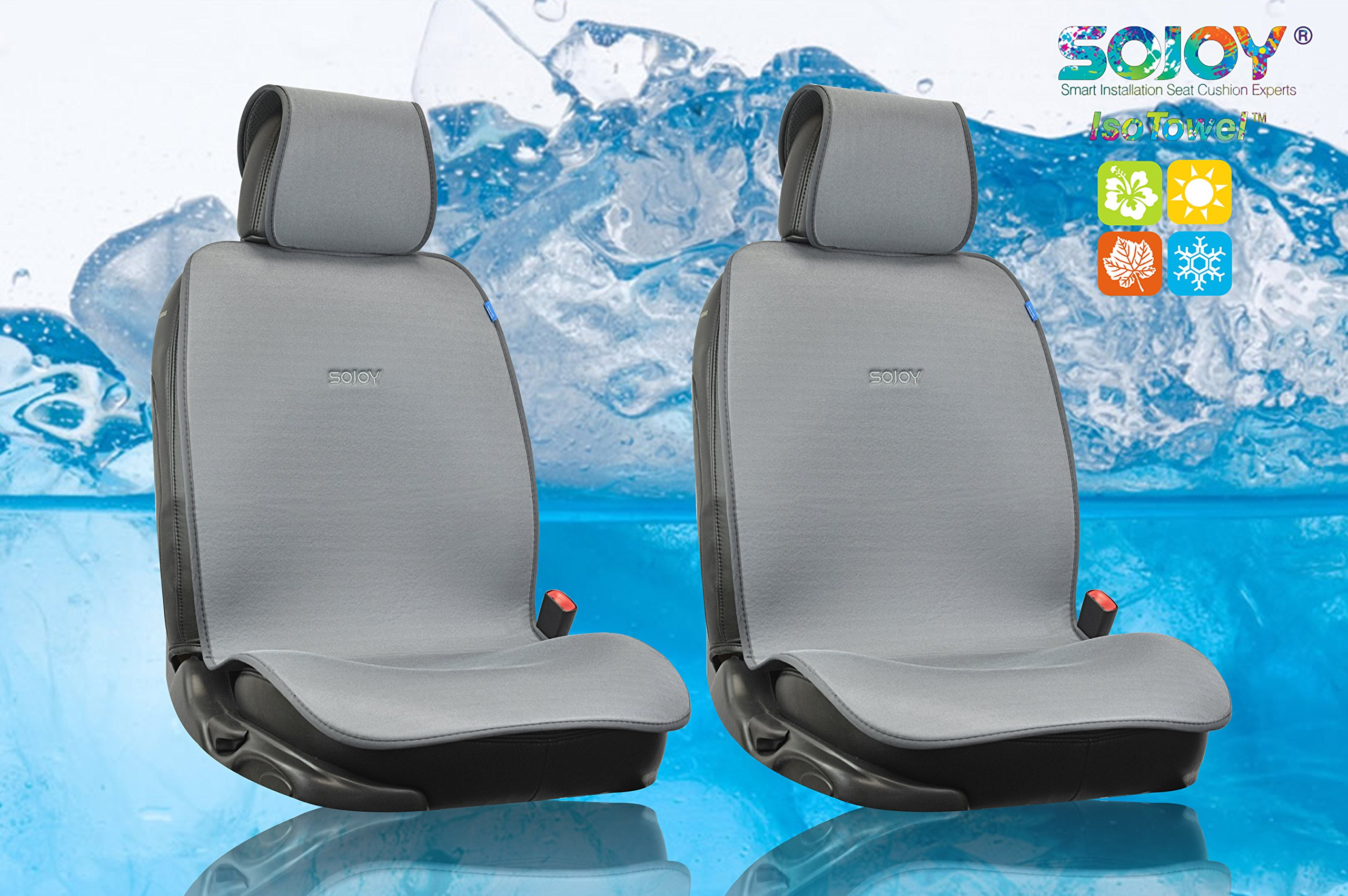 Sojoy Cooling Summer Large Car Seat Cover 2 Seats with 4 Pieces (Gray Large 43.5x22 inch)