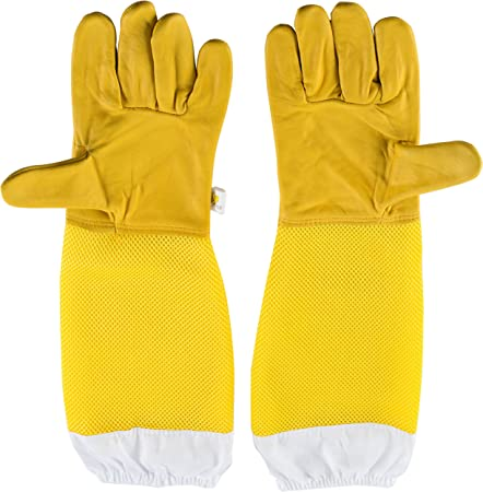Pair Protective Beekeeping Gloves Goatskin Vented Long Sleeves Yellow white