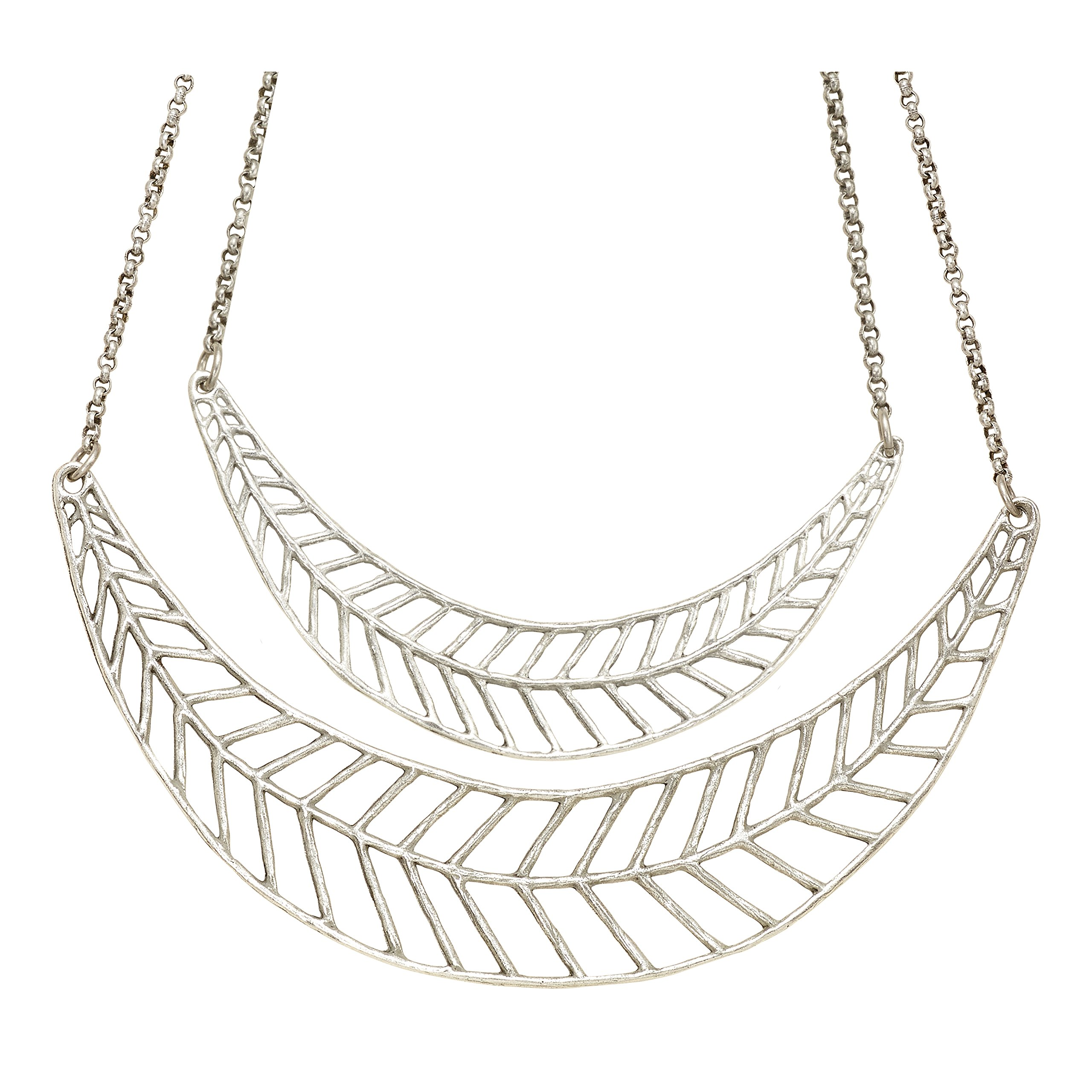 Chevron Leaf Double Collar Necklace (Antique Silver) by Mercedes Shaffer