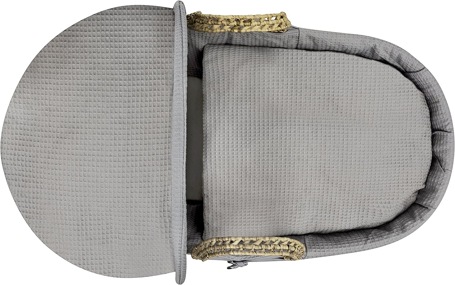 Grey Kinder Valley Waffle Wicker Moses Basket