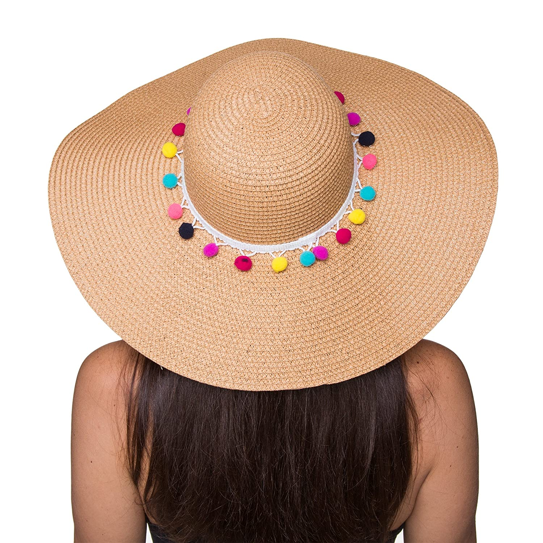 1a7b9c01 Amazon.com: The Chic Soul Pom Pom Multi-Color Floppy Sun Straw Beach Hat  (Beige): Clothing