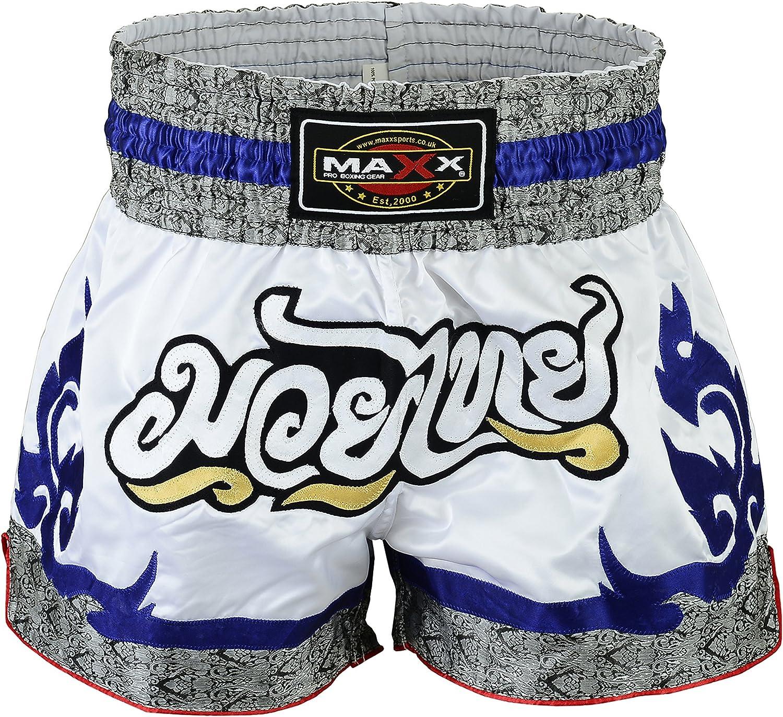 TurnerMAX Muay Thai Shorts Training Trunks Kick Boxing MMA Martial Arts Blue