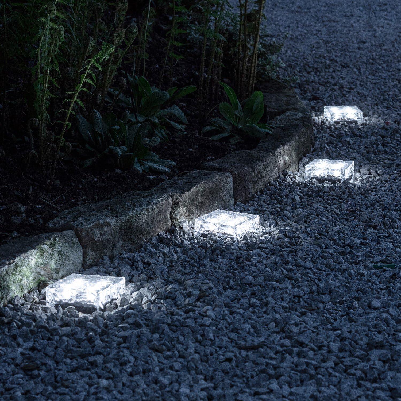 Lights4fun Juego de 4LED Solar Cristal de Piedras de pavimento vía iluminación Blanco Grande Luz