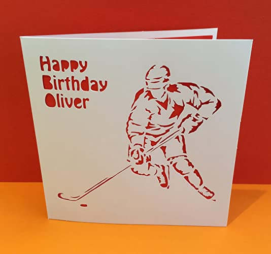 Ice Hockey Card Winter Sports Handmade Greeting Card Paper Cut
