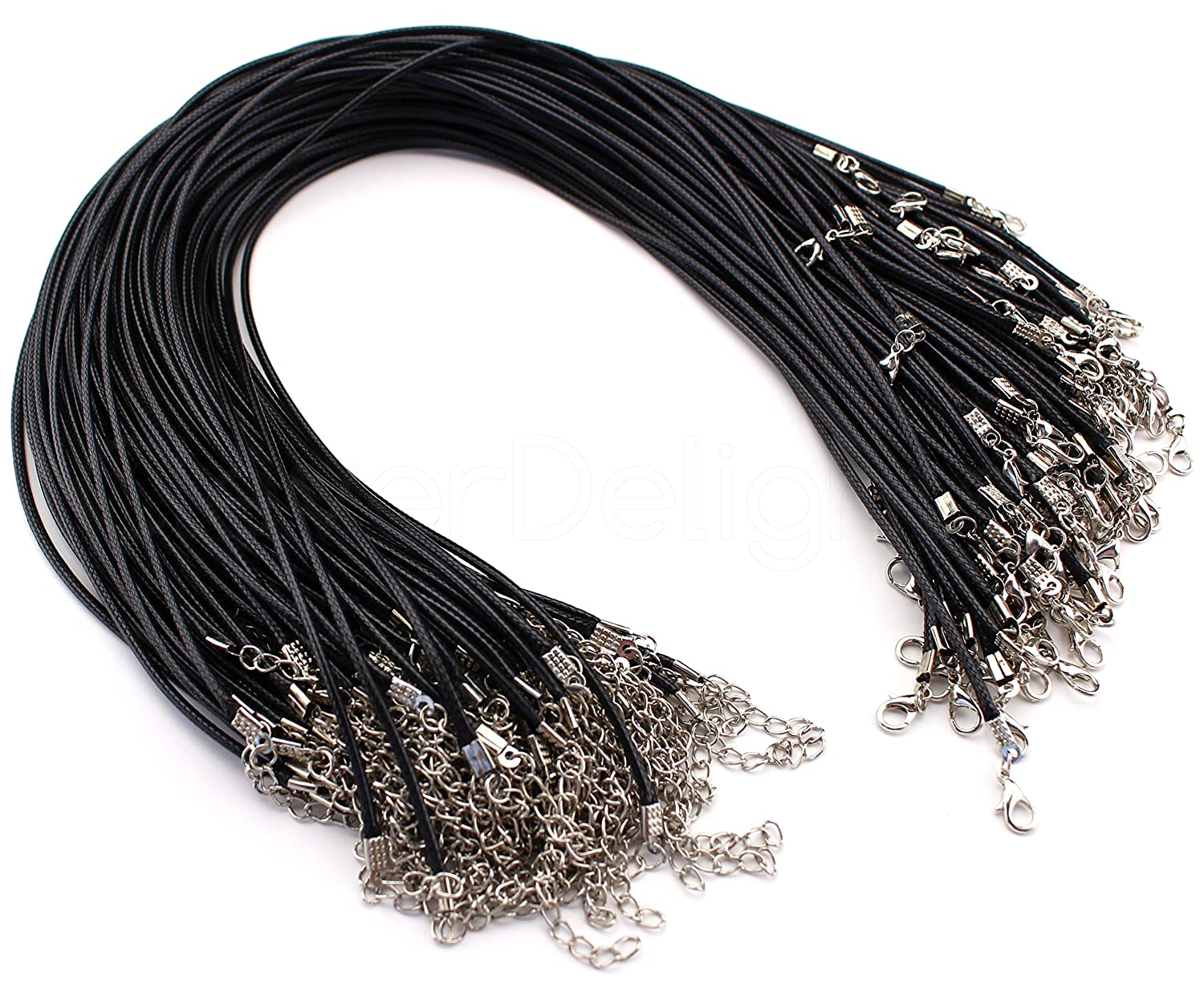 with Lobster Clasp Black 2mm Thick 17 CleverDelights 50 Imitation Leather Cord Necklaces 17 Inch