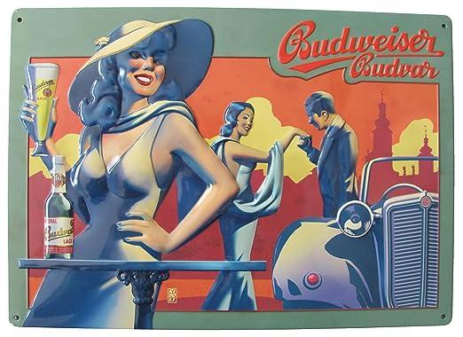 Blechschild Budweiser Cerveza Cartel de Chapa - Mujer con ...