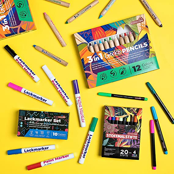 12 Fabric Marker Pens Permanent Colors For DIY Textile Clothes T-Shirt Shoes