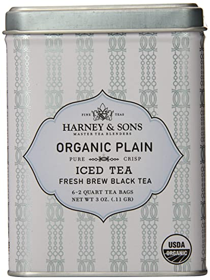 Harney & Sons Black Iced Tea, Organic Plain, 6 Tea Bags