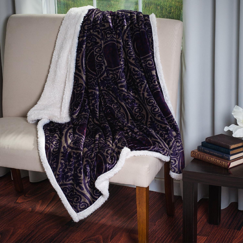 Lavish Home Printed Coral Soft Fleece Sherpa Throw Blanket Brown 61-00010-BR