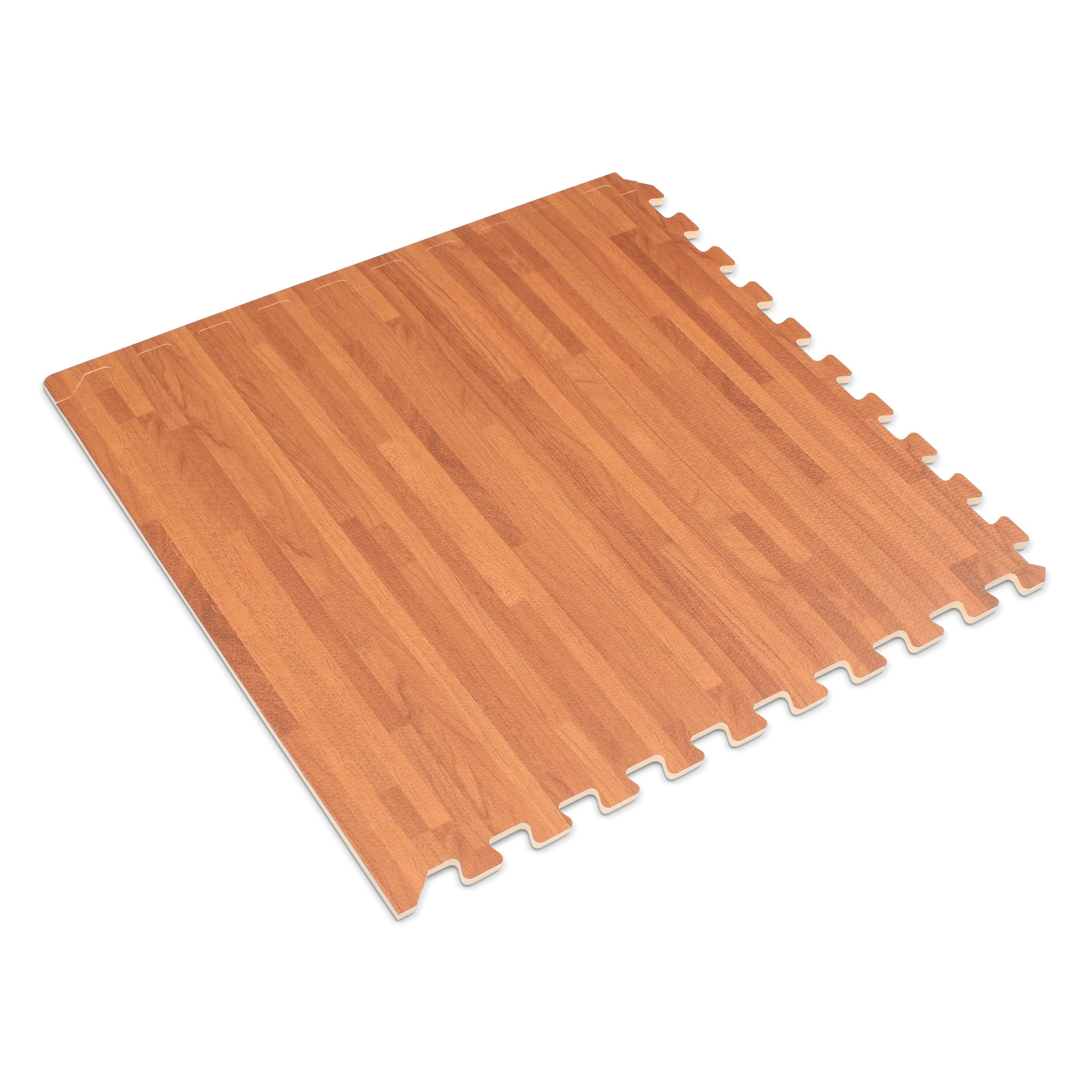 Forest Floor 3/8'' Thick Printed Wood Grain Interlocking Foam Floor Mats, 16 Sq Ft (4 Tiles), Mahogany by Forest Floor (Image #2)