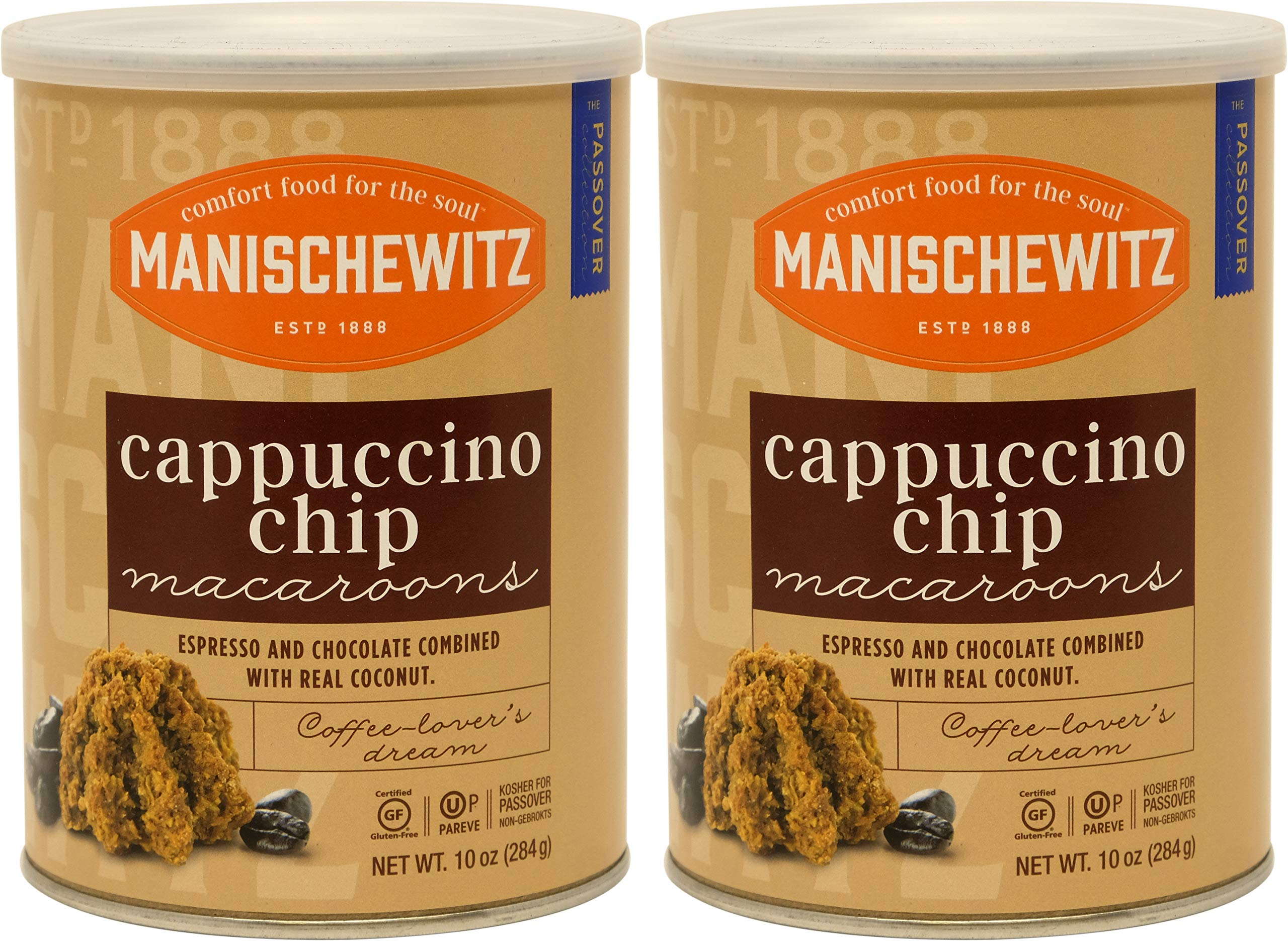 Manischewitz Macaroon Cappuccino Chip, Kosher For Passover, 10 Ounce Canister (Pack of 2, Total of 20 Oz)