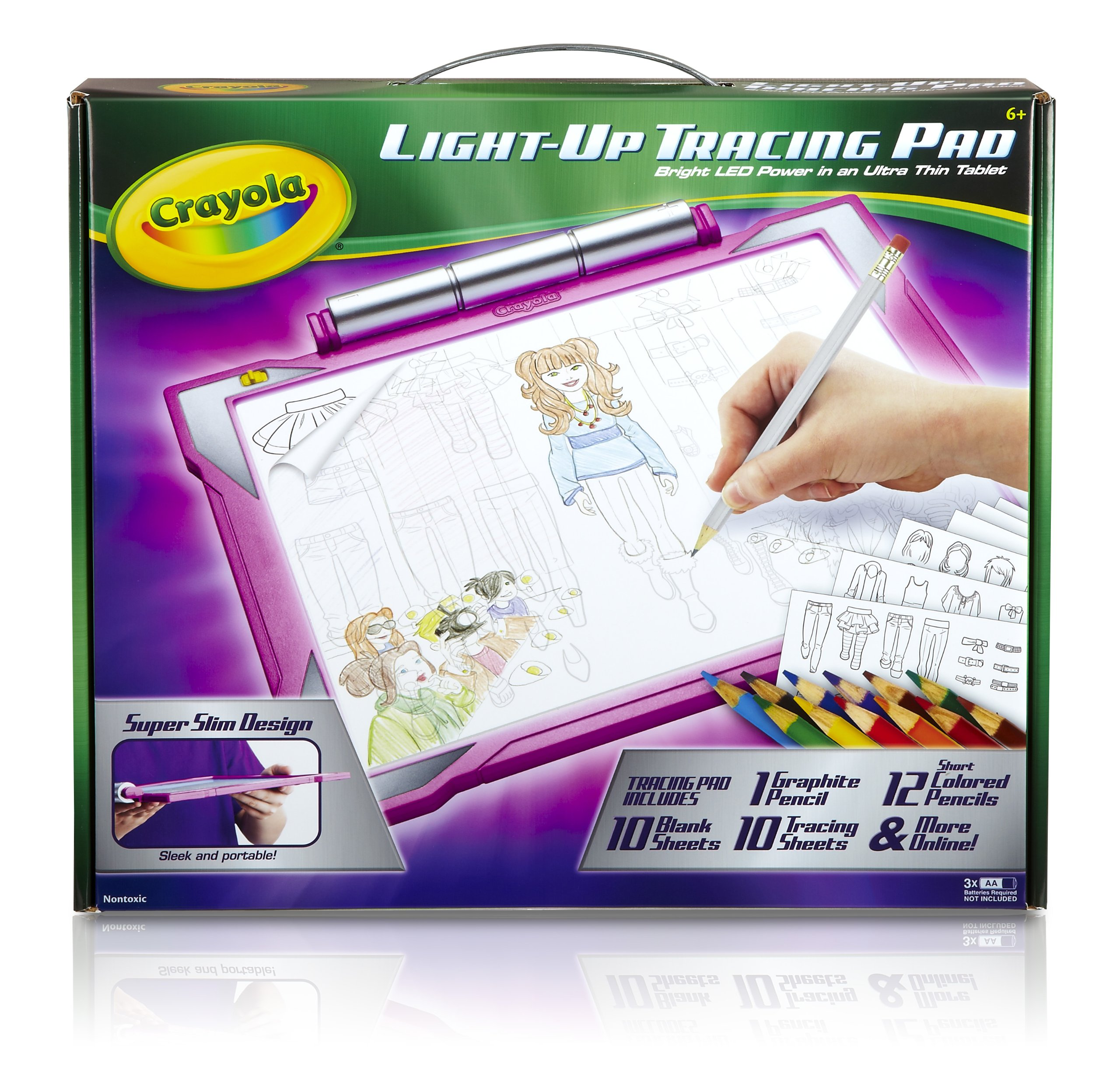Crayola Light Up Tracing Pad   Pink, Coloring Board For Kids, Gift, Toys  For Girls, Ages 6, 7, 8, 9, 10