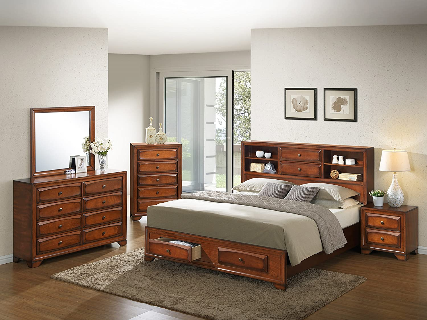 Roundhill Furniture Asger Antique Oak Finish Wood Bed Room Set - Queen Storage Bed - Dresser - Mirror - Night Stand