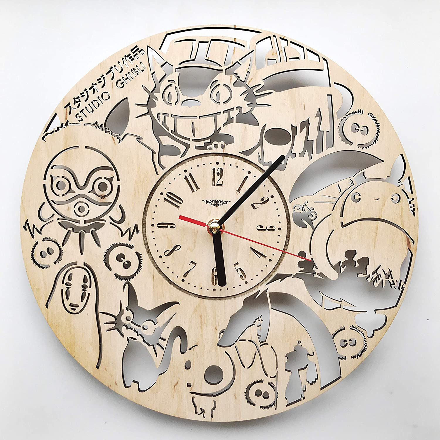 Studio Ghibli Wall Clock Wood Home Decor - Great Wall Art for Living Room Bedroom Kitchen for Men Women Kids Girlfriend Boyfriend - Silent Quartz Mechanism - 12 Inches