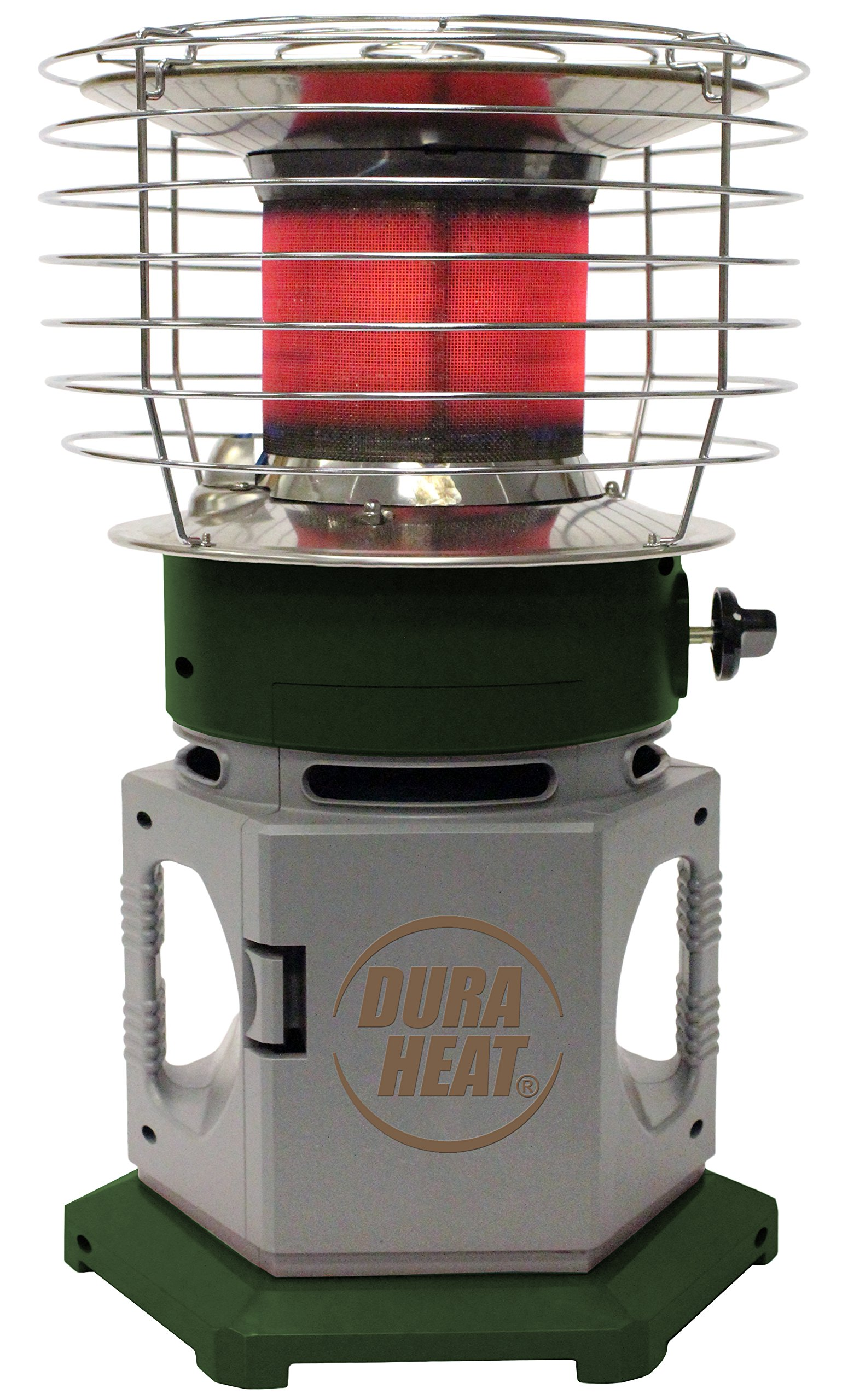 Dura Heat 360 Degree Instant Radiant Double Tank Portable Indoor Outdoor Propane Heater, 25,000 BTU, Grey/Green by Dura Heat