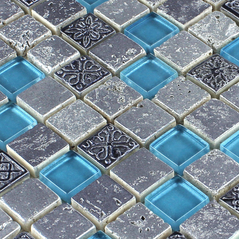 Glas Resin Stein Mix Blau Silber Mosaik Fliesen Amazonde Baumarkt - Glasmosaik fliesen blau