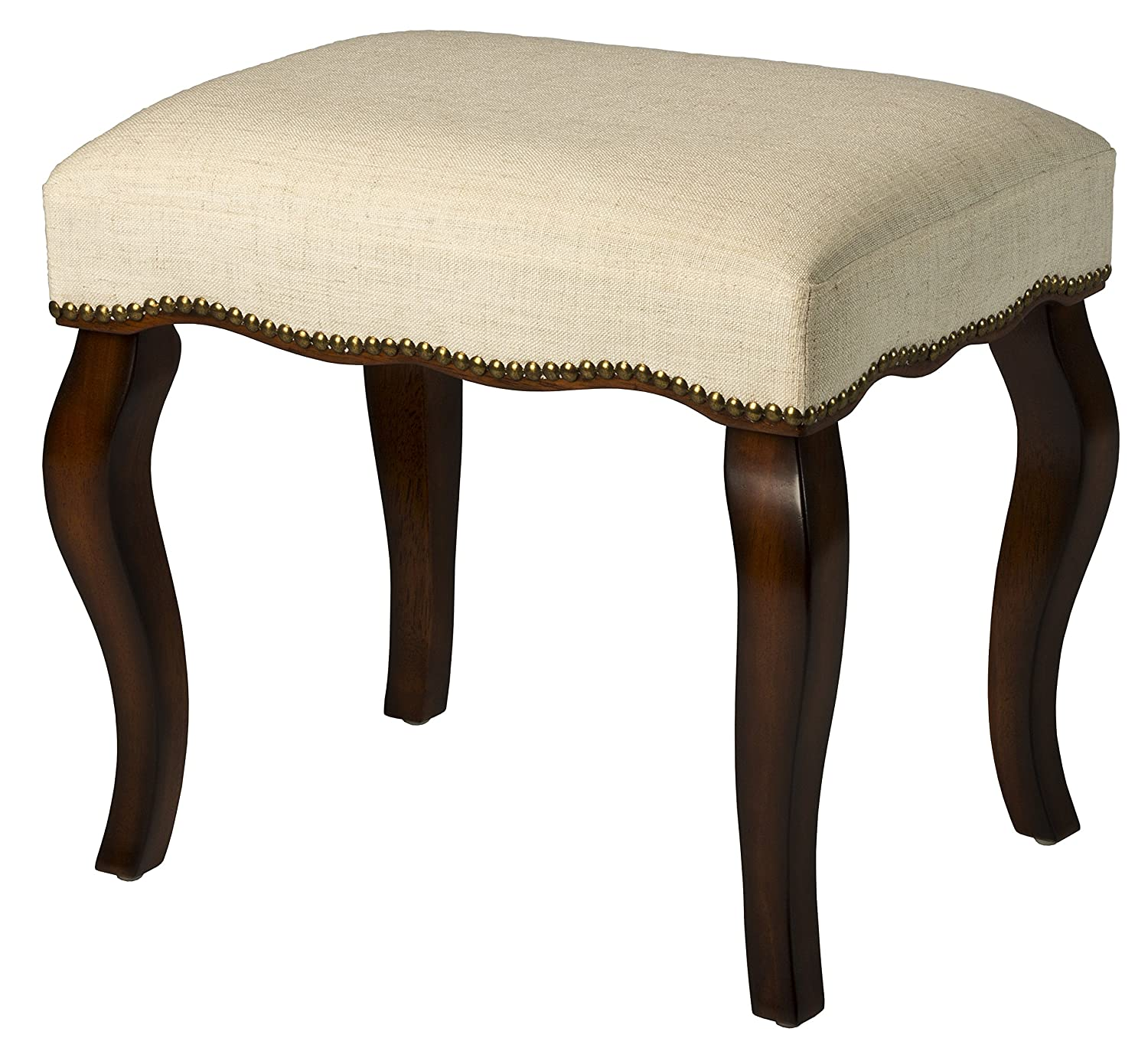 Hillsdale Furniture 50962 Hamilton Backless Vanity Stool, Burnished Oak with Cream Fabric