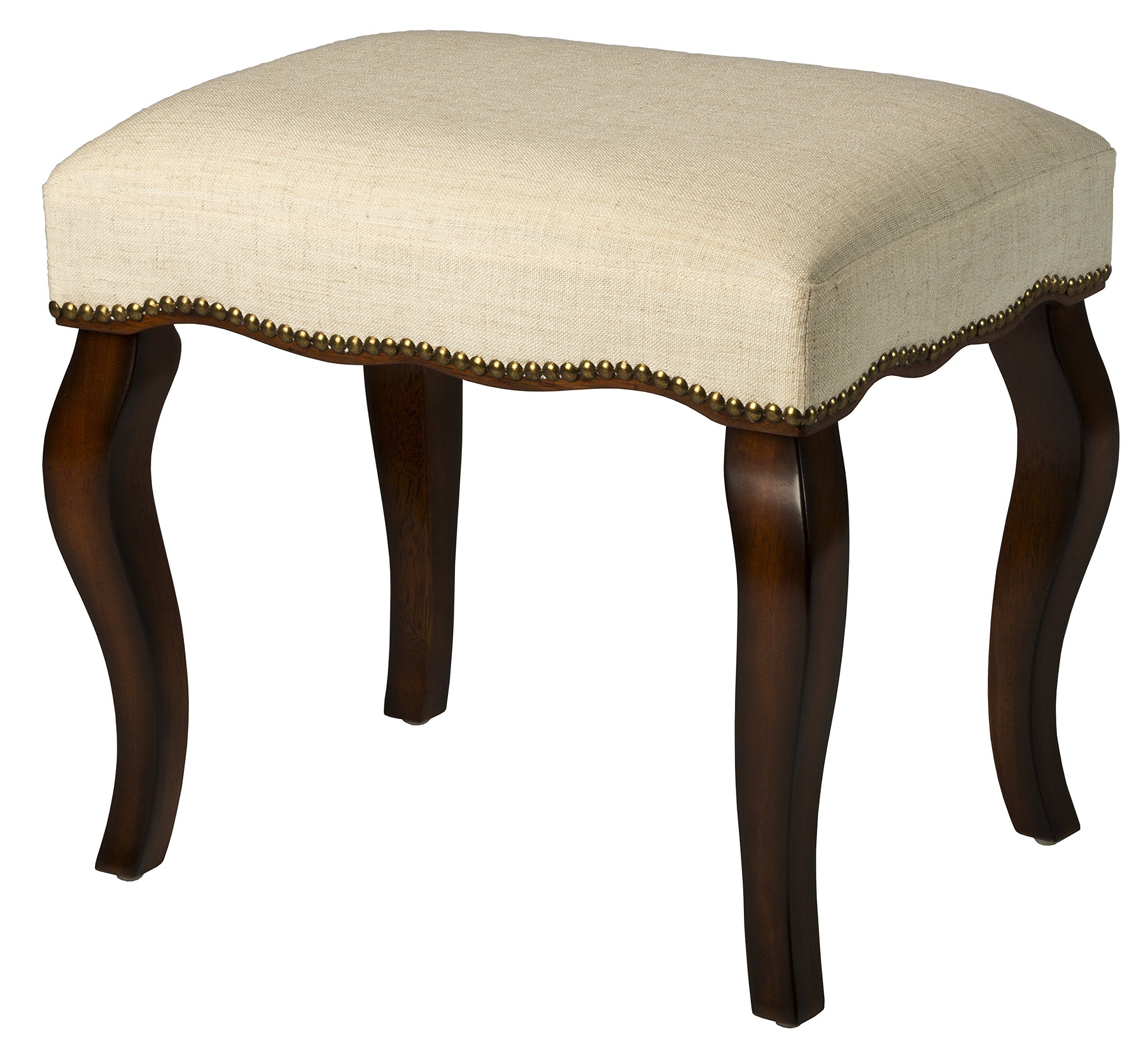 Hillsdale Furniture Hamilton Backless Vanity Stool, Burnished Oak Wood and Ivory Upholstery with Nail Head Trim by Hillsdale Furniture