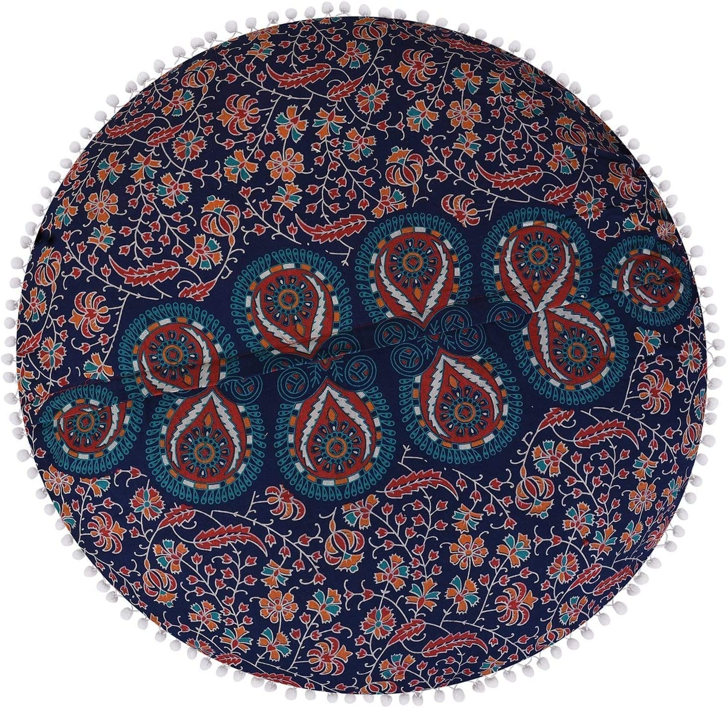 32 Mandala Hippie Floor Pillows Cushion Seating Throw Round Cover Boho Home Beach Picnic Decorative Pouf Large Sham Psychedelic Hall Bedroom Design Yoga Ottomans Modern Outdoor Nature Cotton Fabric