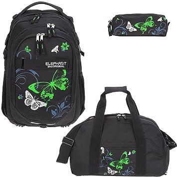 4fe8111153bee 3 Teile Set ELEPHANT Schulrucksack Hero Signature + Sporttasche + Mäppchen  Motiv 12679 (Butterfly Black