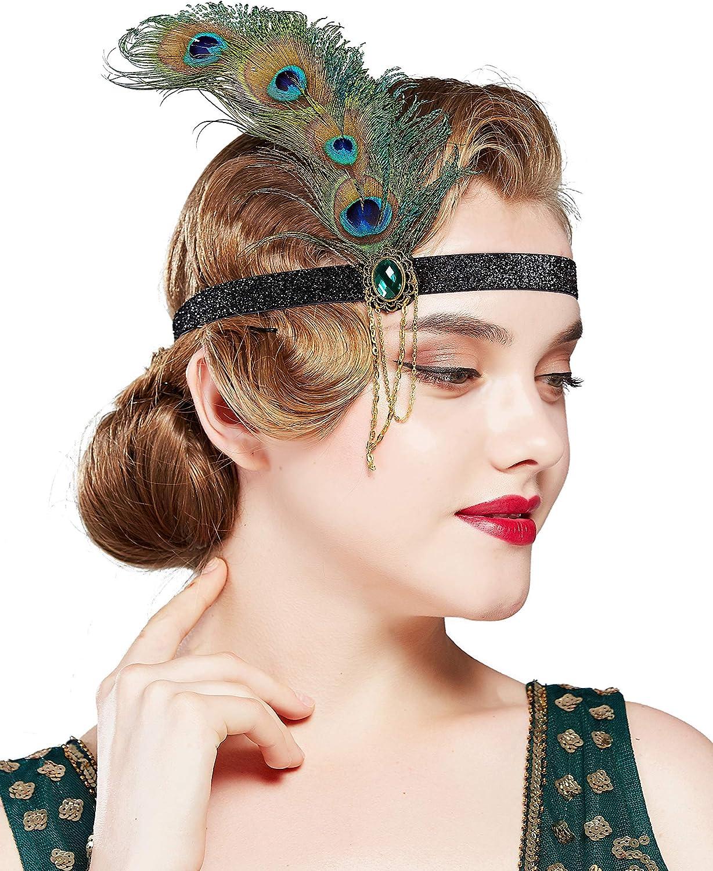 Turquoise Bleu Sarcelle Vert Plume de Paon Turban 1920 S Clapet Gatsby Hat 0828