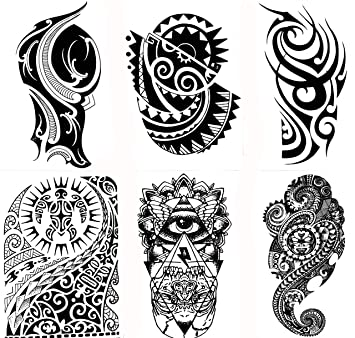 cf6c234c6c155 Gilded Girl 6 Large Tribal Temporary Tattoos Realistic Designs for Arm/Back/Shoulder  Waterproof Body Art Removable Black Tattoo, Temporary Tattoos - Amazon ...