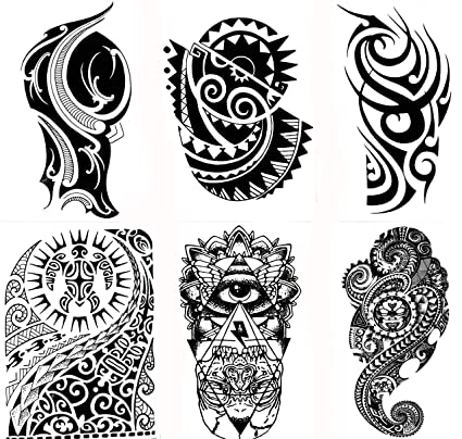 3c690ad01 Amazon.com: Gilded Girl 6 Large Tribal Temporary Tattoos Realistic Designs  for Arm/Back/Shoulder Waterproof Body Art Removable Black Tattoo: Toys &  Games