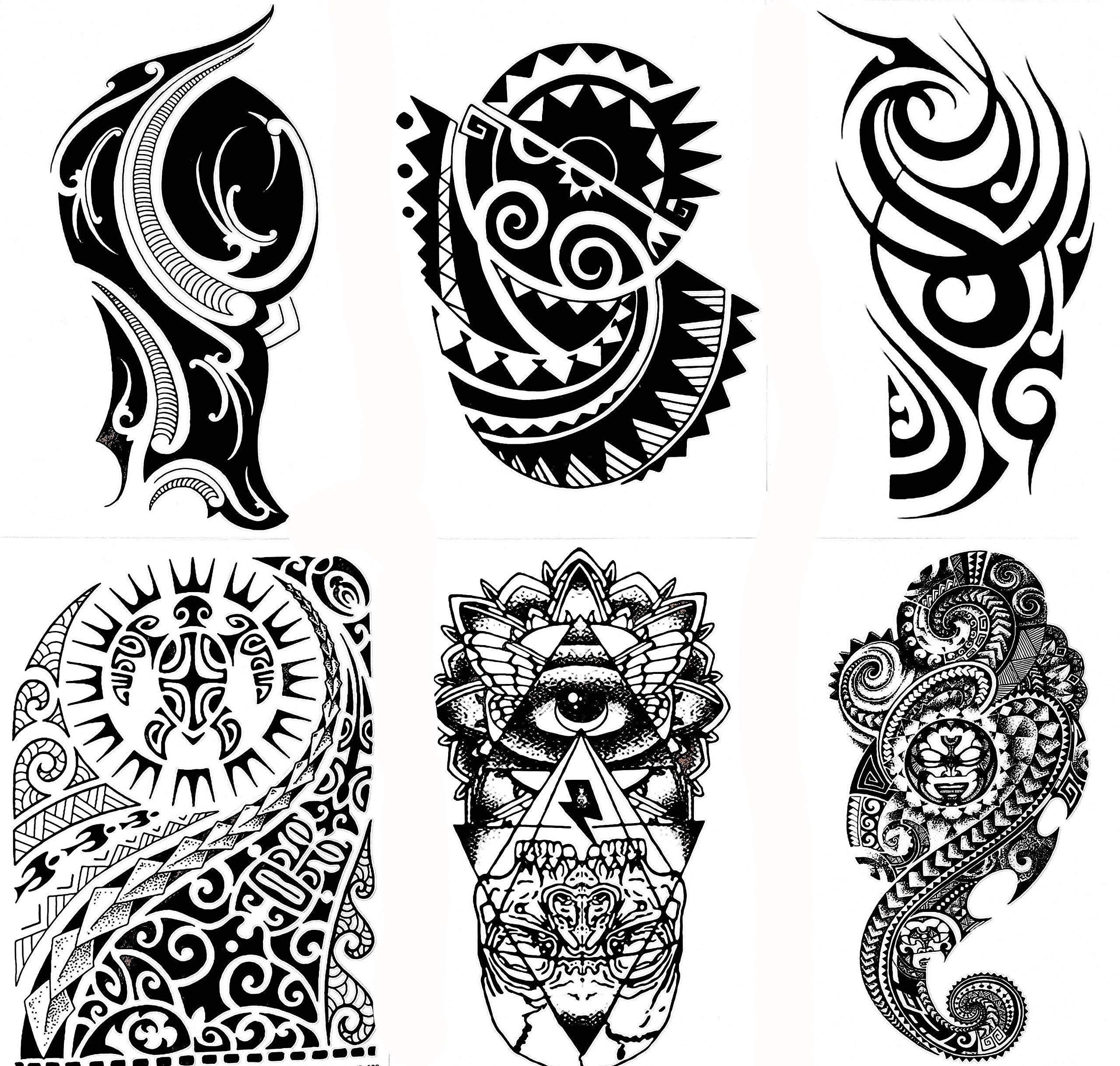 f7a1b34c8891d Gilded Girl 6 Large Tribal Temporary Tattoos Realistic Designs for  Arm/Back/Shoulder Waterproof
